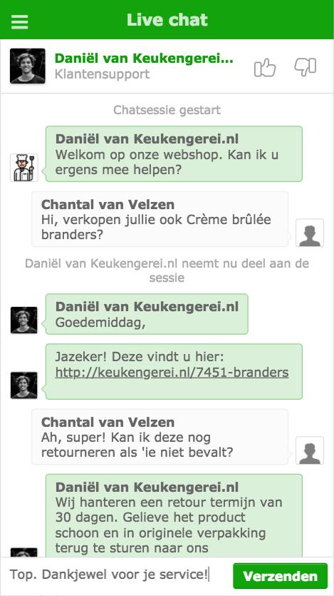 live chat venster